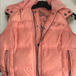 Juicy Couture reversible pink puffer vest